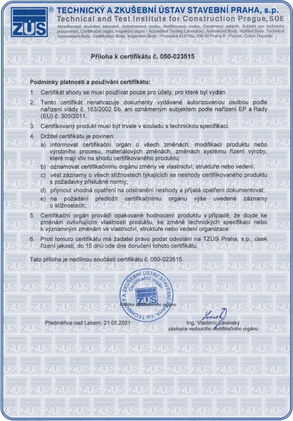 Příloha k certifikátu